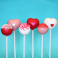 6 Valentine Assorted Heart & Sprinkle Cake Pops for Valentine's Day, party or wedding favor, teacher gift, gift for guy or girl, pink, red