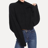Black Solid High Neck Crop Boxy Sweater Women Tops Streetwear Long Sleeve Casual Ladies Sweaters