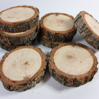 """wood slice coaster, Rustic 5"""" diameter Hickory coasters, perfect for mason jars, cut at 3/4"""" thick, cut to order and sealed"""