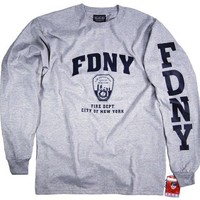FDNY Shirt Long Sleeve T-Shirt Authentic Clothing Apparel Officially Licensed Merchandise by The New York City Police Department Gray
