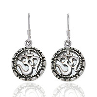 925 Sterling Silver Yoga, Om, Ohm, Aum, Symbolic Dangle Earrings