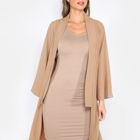 Classic Solid Duster Coat CAMEL | MakeMeChic.COM