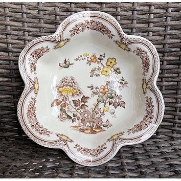 Brown Transferware Hand Painted Chinoiserie Prunus Bloom Fluted Flower Shape Scalloped Bowl