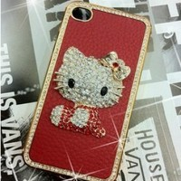 Hello Kitty Luxury Red leather Rhinestone Crystal Case Cover for iPhone 4 4S