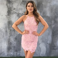 Carpe Diem Two Tone Pink Crochet Dress