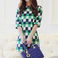 Green Grid Spot Dress