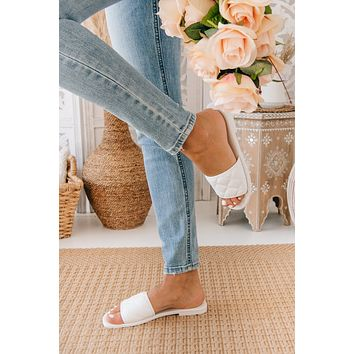 Queen Of The Court Quilted Slides (White)