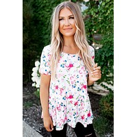 The Pearl Striped Floral Peplum Top (Pink)