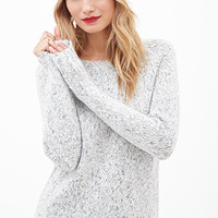 LOVE 21 Marled Knit Sweater Ivory/Teal