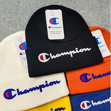 Champion knitting The embroidery Hat