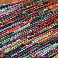 Upcycled T Shirt Rag Rug Autumn Brights Red Orange Green Navy Teal Modern Country Rustic Rectangle 24x36 --US Shipping Included