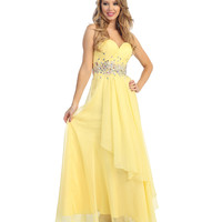 Yellow Beaded Chiffon Asymmetrical Gown Prom 2015
