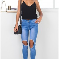 Courts skinny jeans in mid wash denim Produced By SHOWPO