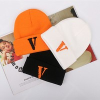 Vlone men women wool caps hip hop streetwear harajuku kanye west V fear of god cotton casual Bone gorra winter hat Skullies