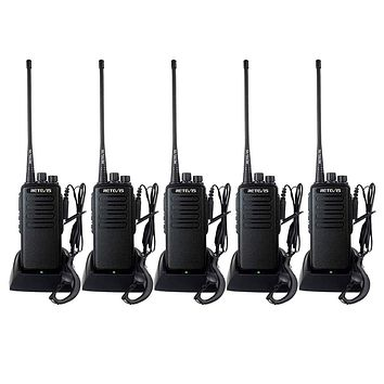 Case of 5,Retevis RT1 Walkie Talkies for Adults Long Range UHF High Power Long Distance Two Way Radios VOX Emergency 2 Way Radios with Earpiece