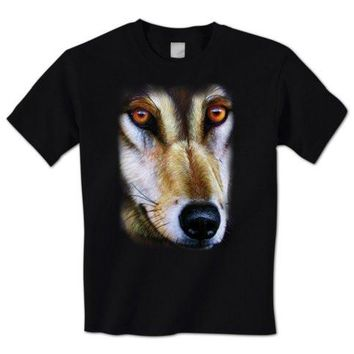 Graphic Clothing  O-Neck Short Sleeve Gray Wolf Face Picture North American Timber Wolf Wildlife Short T Shirts For Men