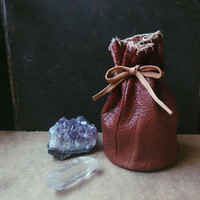 rune bag • witch leather pouch - upcycled leather bag - spell bag - viking pouch - brown leather drawsting pouch