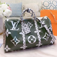 LV New Fashion Monogram Print Leather Two Face Colors Travel Luggage Bag Shoulder Bag Crossbody Bag Handbag Green