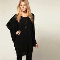 Batwing Long Sleeves Knitted Loose Top