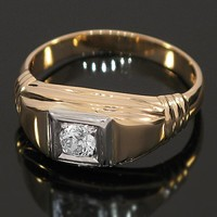 14K Yellow Solid Gold Mens Diamond Solitaire Ring 0.50 Ctw