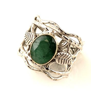 Emerald Two Tone Vine Sterling Silver Band Ring