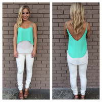 Mint & Beige Two Tone Low Back Tank