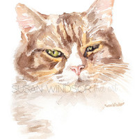 Calico Cat Giclee Reproduction - Watercolor Painting 5 x 7 Fine Art