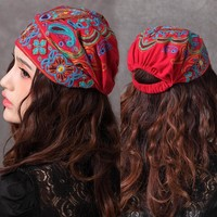 Vintage 70s ethnic red embroidery cap for girls Mexican style bohemian hippie headgear hat 2017 chapeau free shipping