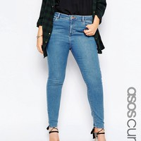 ASOS CURVE Ridley Skinny Jean in Lily Pretty Mid Stone Wash