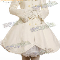 Classical Lolita Scallop Wave Thick Wool Coat&Fine Fur Bow Scarf