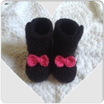 Bow Tie Baby Booties Infant Shoes (shown in black with a Hot Pink Bowties) button closure MORE COLORS