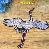 New Arrival Iron-on Patch 1pc Chinese style Crane For Women Chinese Classical Symbol Bird Custom Clothes Big Patch Animal Vogue