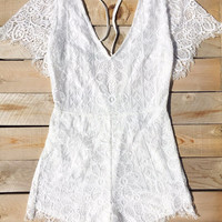 White Sea Lace Romper