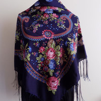 Russian scarf,floral russian scarf,Navy blue russian scarf,vintage style scarf,fringe scarf,pashmina scarf,floral scarf,gift for her,