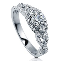 925 SILVER 3-STONE WOVEN RING 0.68 CT MADE WITH SWAROVSKI ZIRCONIA