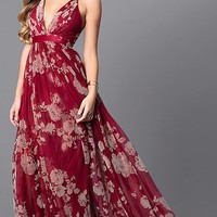 Floral-Print V-Neck Long Prom Dress with Empire Waist