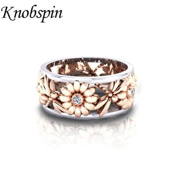 Rose Gold Color Dragonfly Sunflower Female Ring Romantic Engagement Wedding Ring for Women Fashion Party Jewelry Size 6-10 anel