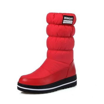 Snow platform patent leather high quality tassel footwear cotton mid calf winter boots
