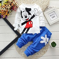 born Baby Boys Clothes Set Cartoon Long Sleeved Tops + Pants 2PCS Outfits Kids Bebes Clothing Childrens Jogging Suits