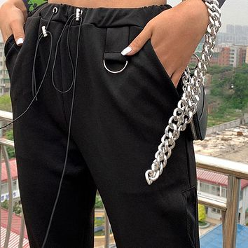 Women Casual Fashion Long Cargo Pants High Waist Slim Knitted Streetwear Femme Fitness Bottoms Lady Elastic Trousers