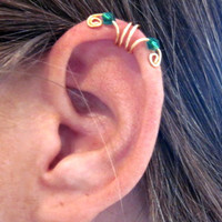 """No Piercing Ear Cuff Helix Cuff  """"Crystal Double Up"""" Handmade 1 Cuff COLOR CHOICES"""