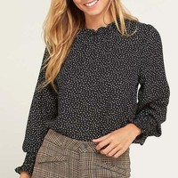 Dotted Mock Neck Blouse