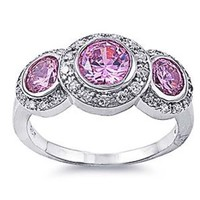 Sterling Silver Wedding & Engagement Ring Pink Cubic Zirconia 3 Three Stone Ring (Size 5 to 11)