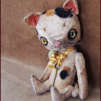 """by Alla Bears TINY 8"""" inch Cat """"made to order"""" original artist ooak Vintage girl collectible handmade toy baby doll Whimsical Victorian"""