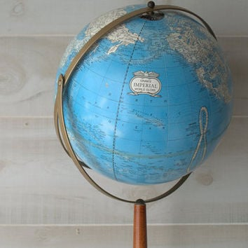 "Vintage Cram's Imperial 12"" Standing Globe on Wood Base, Raised Relief Cram's Number 12 Globe"