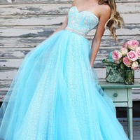 Strapless Sherri Hill Dress with Sequin Embellishments