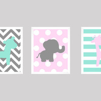 Mint Pink Gray Elephant Giraffe Bunny, CUSTOMIZE YOUR COLORS, 8x10 Prints, set of 3, Stripes Chevron nursery decor print art baby room decor