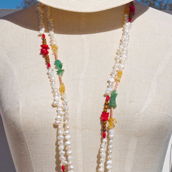 Long necklace set pearl jade citrine coral wood Beach wedding Beach bride Summer style White green red Boho style Mermaid style jewelry