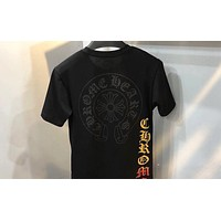 Chrome hearts 2019 new classic Sanskrit letter cross print round neck half sleeve shirt Black