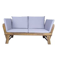 """60"""" X 24"""" X 29'.5"""" Brown Acacia Wood Contemporary Cushioned Adjustable Wooden Bench"""